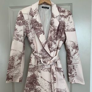 All Over Print Belted Blazer Dress